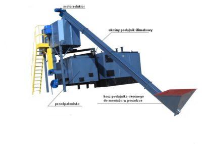 Zestaw grzewczy 535-800 kW z podajnikiem.